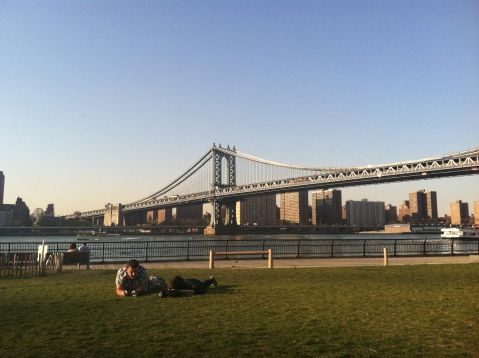 Manhattan bridge from Brooklyn Bridge Park