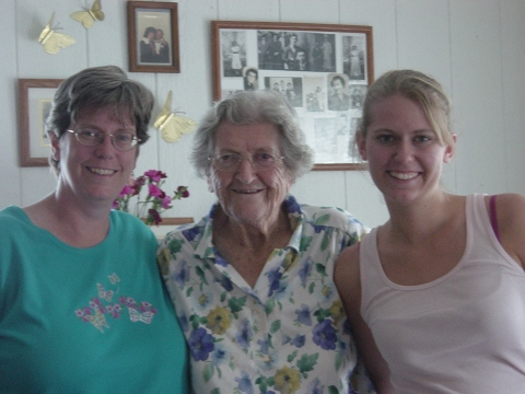 Mom, Great Gram, and me in 2004