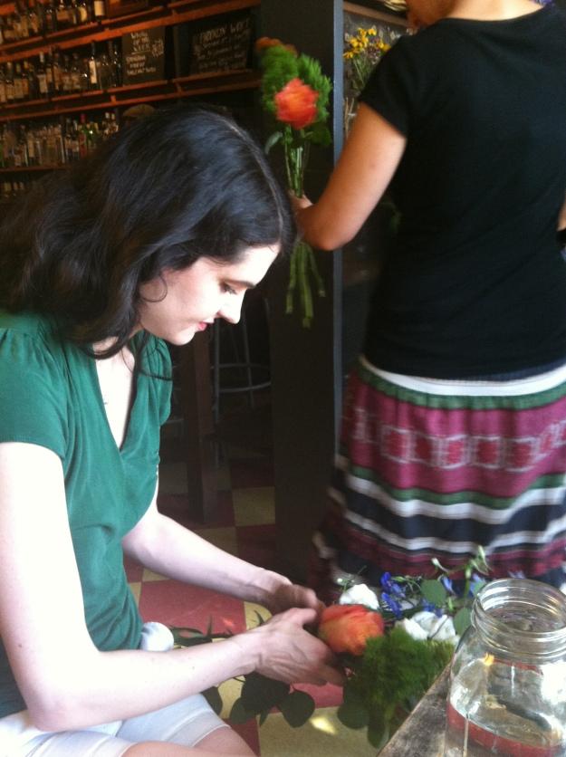 Christine sorting her flowers